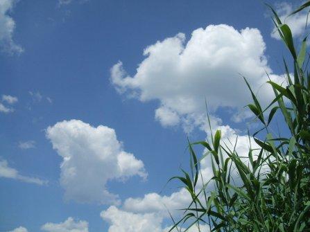 A nyári gomolyfelhők a tó felett.