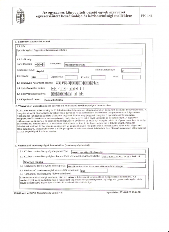 Pénzügyi beszámoló 2013 ötödik oldal