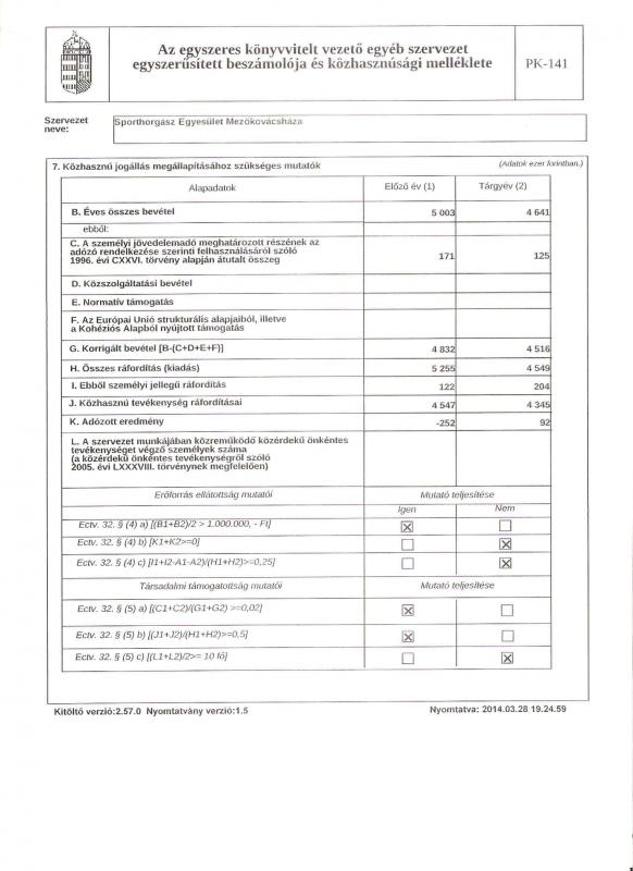Pénzügyi beszámoló 2013 hetedik oldal